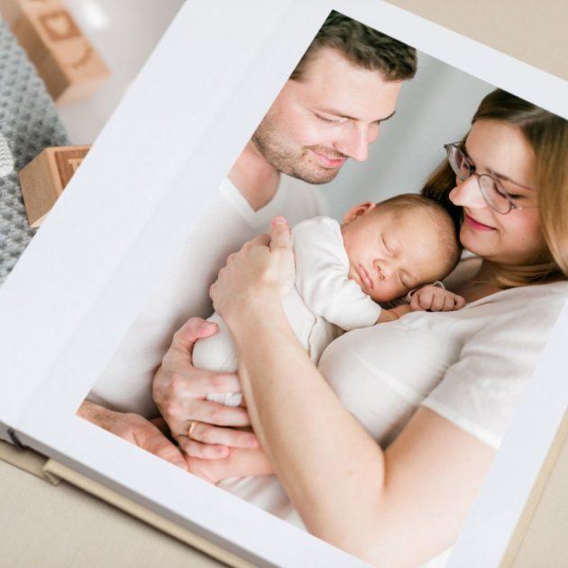 Familienalbum-Leinenalbum-Fotoalbum-Holzbox-Prägung